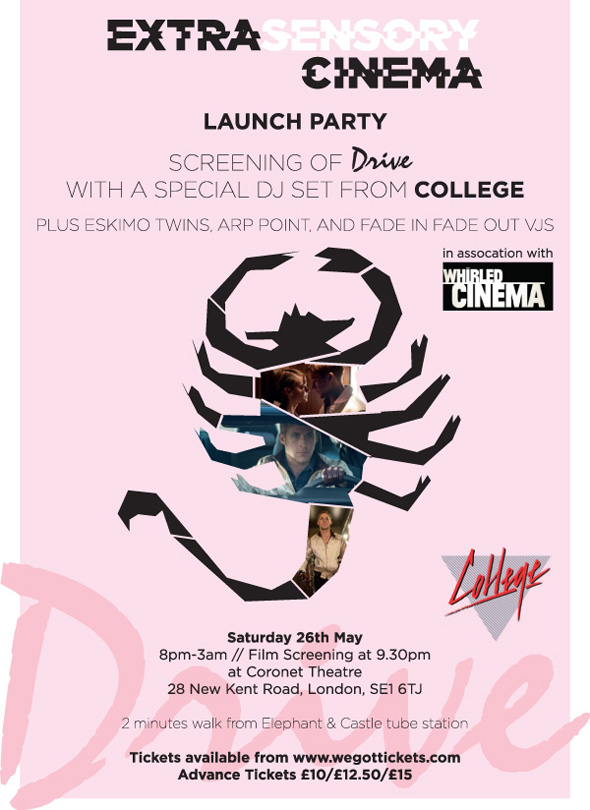 ExtraSensory Cinema Launch Party: Screening of 'Drive' + Special DJ set from College